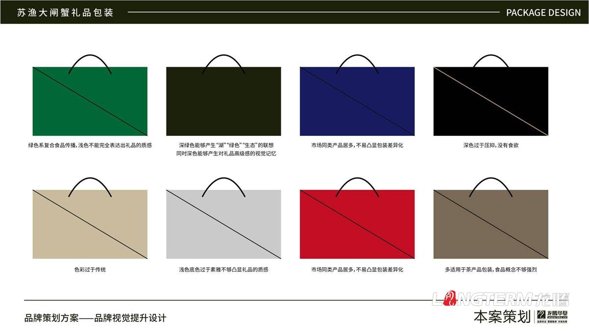苏渔大闸蟹礼品盒包装设计公司_大闸蟹礼品包装视觉提升方案_包装要素提炼设计_色彩搭配及接触点文提炼