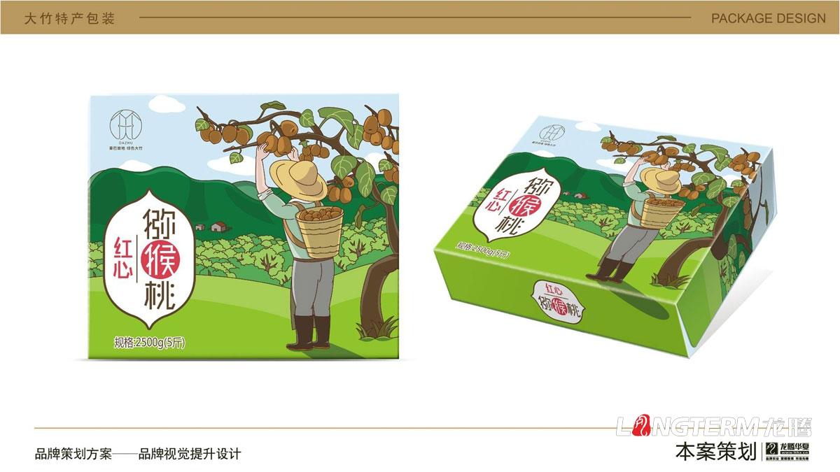 大竹猕猴桃水果卡通包装盒设计_达州市大竹县地方特产水果奇异果包装设计方案